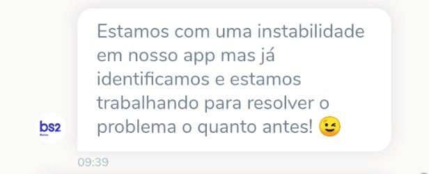App do Banco BS2 fica fora do ar